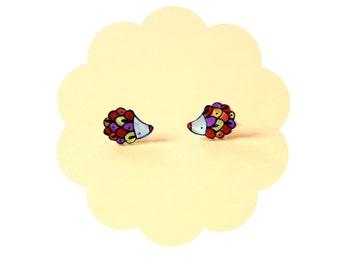 Hedgehogs stud earrings, Animal jewelry, illustrated acrylic jewelry, yellow red purple porcupine
