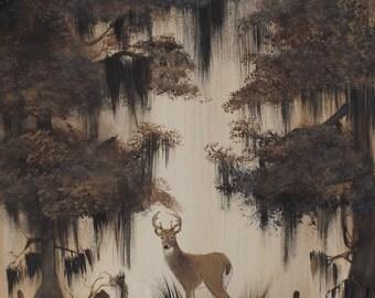 Buck Deer in the Swamp or Bayou Acrylic on Canvas 16x20