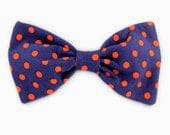 Navy Dog Bow Tie- Navy and Red Dot Bow Tie - Bowtie for dogs - dog bow tie collar accessory - Blue Bow Tie for Dogs