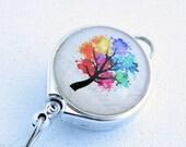 Multicolor Tree Lanyard Badge Reel with Belt Clip