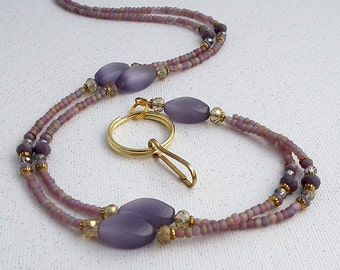 Beaded ID Badge Lanyard - Purple Catseye Beads, Crystal Rondelles, Gold Tone Bead Caps