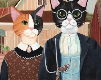 CAT Art Ameowican Gothic Cats Original CAT Folk Art Painting