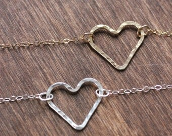 Hammered Heart Choker Necklace - Gold Fill or Sterling Silver