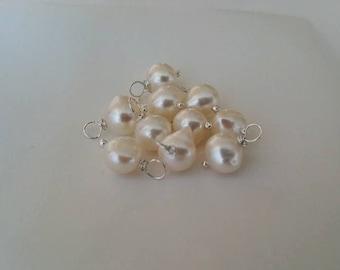 Freshwater Pearl - Add on charm, add on pendant, wire wrapped pearl, freshwater pearl 10 Pcs