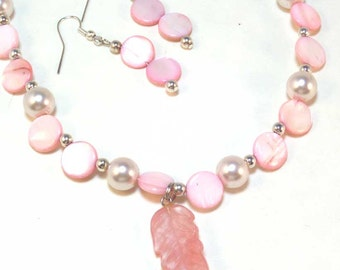 Pink Necklace Set - Shell and Leaf