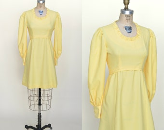 1970s Yellow Mini Dress --- Vintage Dress
