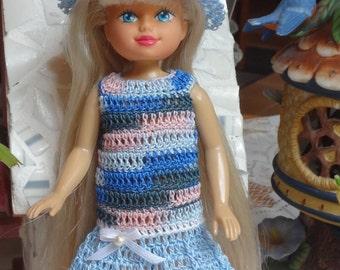 Crochet for 7 or 8 inch 1990 Vintage Kid Kore Doll Dress Drop Waist Hat Pink Blue white