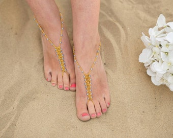 Light Blue and Gold Barefoot Sandals Foot Jewelry Anklet Toe Ring Beach Wedding Boho Soleless Bridesmaid Gift
