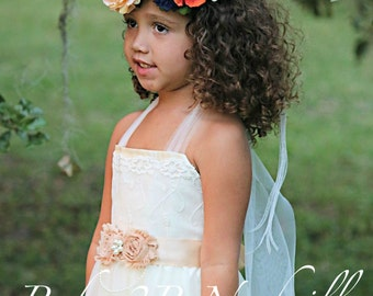 Ivory Lace Chiffon Dress Flower Girl Dress Party Dress Lace Dress Ivory Dress Boho Dress Baby Dress Toddler Tutu Dress Girls Tulle Dress