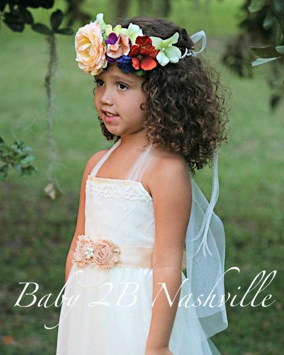 Ivory Lace Chiffon Dress Flower Girl Dress Party Dress Lace Dress Ivory Dress Boho Dress Baby Dress Toddler Tutu Dress Girls Tulle Dress
