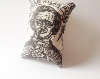 Edgar Allan Poe Novelty Pillow, Small Poe Hand Printed Pillow, Soft Sculpture Art Pillow