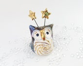 Fairy Owl Ceramic Sculpture with Galaxy Glazes and Real Gold Lustre