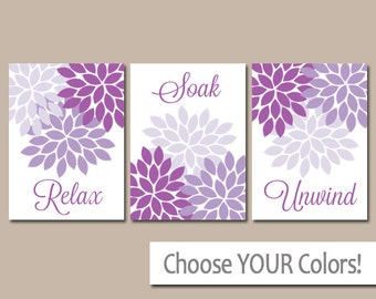 bathroom decor bathroom wall art canvas or prints purple lavender relax soak unwind