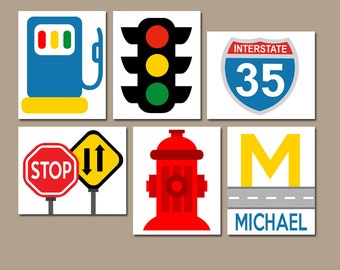 Stop Car Road Sign Etsy - Cars sign and names