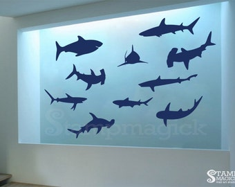 Charming Sharks Wall Decal   Fish At Sea Vinyl Wall Decor Sticker Graphics   K338
