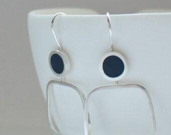 Modern Square Hoops - Inky Blue Resin Earrings - Lightweight Hoops - Minimalist Hoops - Navy Blue Jewellery - Pop