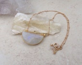Moonstone Half Moon Shaped Pendant on Gold Filled Satellite Chain