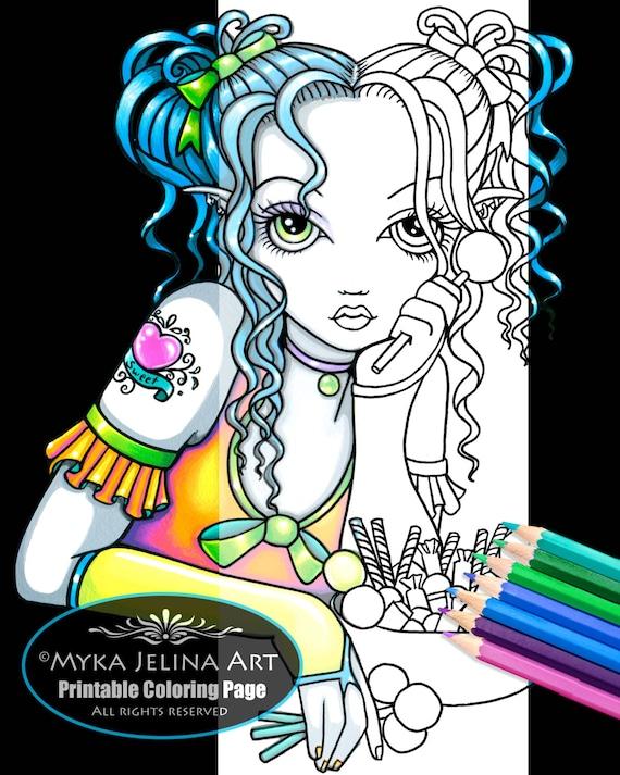 alisha candy fairy digital download coloring page myka jelina. Black Bedroom Furniture Sets. Home Design Ideas