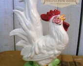 Vintage White Rooster Figurine Retro Farmhouse Decor  Ceramic Rooster Made in Japan ESC RDT FVGteam