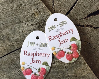 Oval Jam Tags - Made With Love Tags - Homemade Jelly Labels - Raspberry - Peach - Strawberry - Compote Labels - Apple Butter Tags