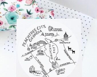 "Peachtree City, Georgia 3"" Stickers"