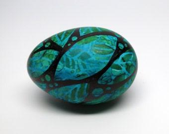 Hand Painted Egg Midnight Garden