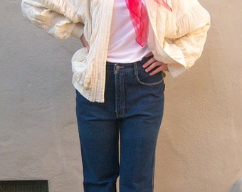 Ivory puffy jacket windbreaker / SILK hip hop parachute jacket / batwing sleeves ruffled ruched, small medium