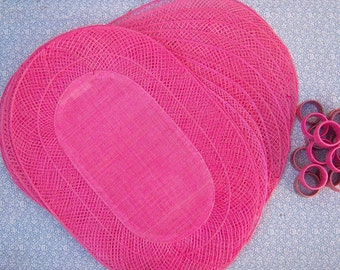 60s 70s PINK placemats + napkin rings / set of 6 / Hemp placemat set / vintage placemat set NEVER USED