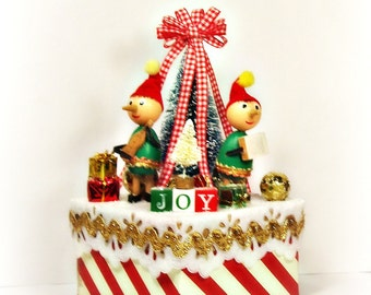 vintage elf centerpiece JOY retro elf centerpiece decorative box Christmas decor Holiday decor toni Kelly original red and green