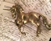 Vintage 1980's Era Heavy Brass Unicorn for Repurposing Altered Art