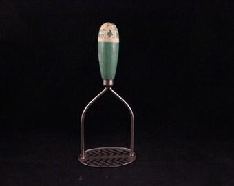 Vintage Green Wood Handle Metal Ricer