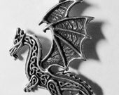 CELTIC wnged dragon Pewter PENDANT & black necklace cord - Protection, Power Talisman