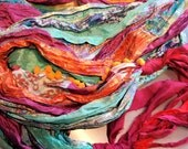 Gypsy Fringe Sari Scarf Shawl  Blue and Orange