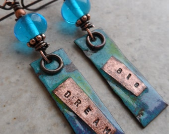 Dream Big ... Artisan-Made Enameled Copper, Lampwork and Copper Wire-Wrapped Boho, Rustic, Earthy, Organic, Beachy Earrings