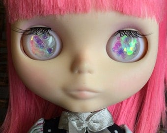 Blythe Resin Eye Chips - Iridescent Heart Clear White - Fit Byul Dolls