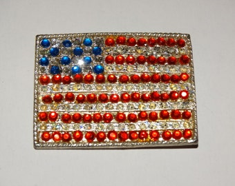 Retro 70's Rhinestone USA Flag Pin, Vintage 1970's Jewelry Brooch Old Glory Rhinestones God Bless America Patriotic Americana Patriot Lot 2