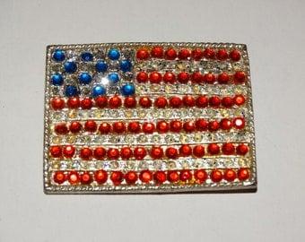 Retro 70's Rhinestone USA Flag Pin, Vintage 1970's Jewelry Brooch Old Glory Rhinestones God Bless America Patriotic Americana Patriot Lot 2