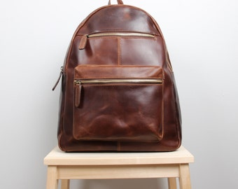 Large Leather Backpack, Rucksack, Purse, antique brown