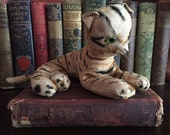 Antique Mohair Tabby Cat or Tiger with Glass Eyes and Most of his Hair Loved Off