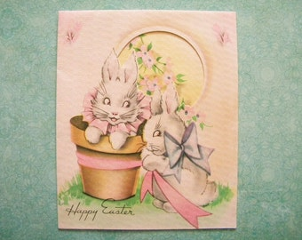 Vintage Easter Card Bunny Rabbit is Flower Pot