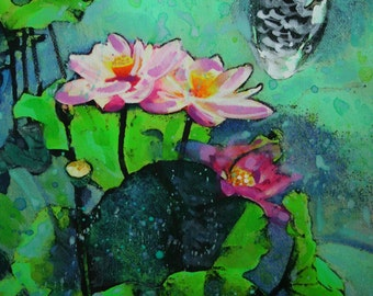 Lotus, summer rain, 16x20 inches, mixed media photograph, Original with painting and drawing,#Lotus art #Koi art #fish ponds #painting #Art