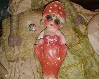 Vintage Chalkware Flapper Kewpie Doll Red