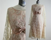 1960s Dress • Blush Wedding Dress • Lace 60s Dress • Lace Overlay Dress • Cream Lace Dress • 60s Dress • Cocktail Dress • Pink Party Dress