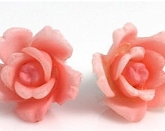 Rose Earrings, Rose Post Earrings, Pink Rose Earrings, Vintage Rose Earrings
