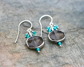 Smoky Topaz and Turquoise Gemstone Sterling Silver Earrings, Brown and Aqua Blue Earrings, Gemstone Jewelry, December Birthstone