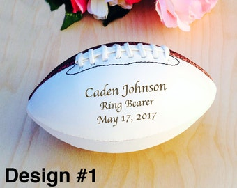 Ring Bearer Gifts, Engraved Football, Mini Football, Ring Bearer Gift, Groomsmen, Engraved Gift, Christmas Gift, Sports, Keepsake, Design #1