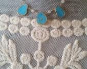 Turquoise Pendant Gold Vermeil Chain Necklace