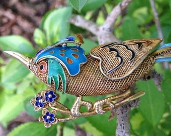 1940 Chinese Enameled Sterling Silver Bird Pendant Gilded Brooch