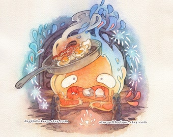 Howl's Moving Castle Calcifer Studio Ghibli 11 x 11 Print
