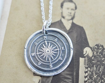 compass wax seal necklace … guidance, direction, navigation inspirational gift - nautical sterling silver wax seal jewelry